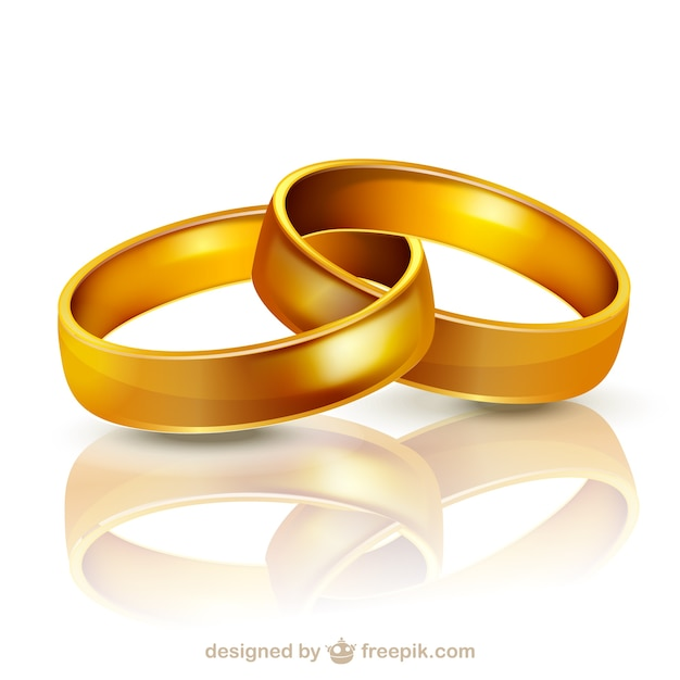 Golden wedding rings illustration Vector Free Download