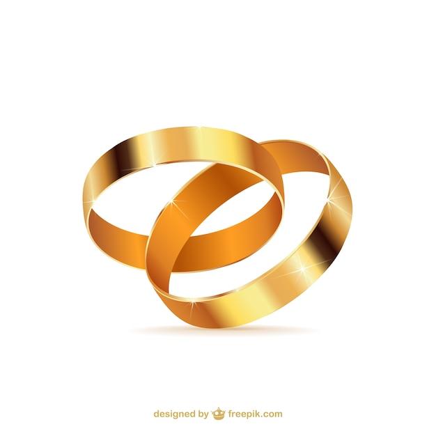 Golden wedding rings Free Vector