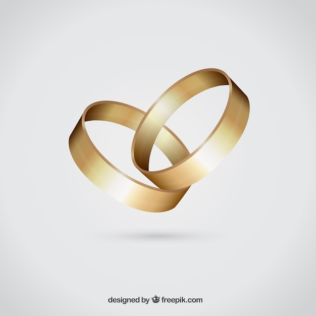 Golden wedding rings Vector Free Download