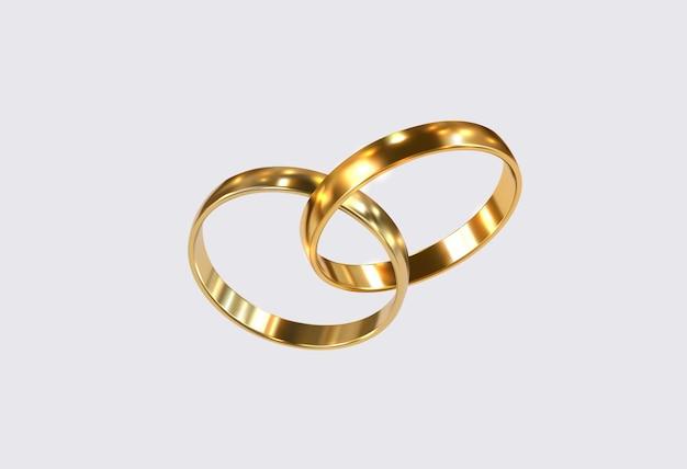 황금 결혼 반지 프리미엄 벡터