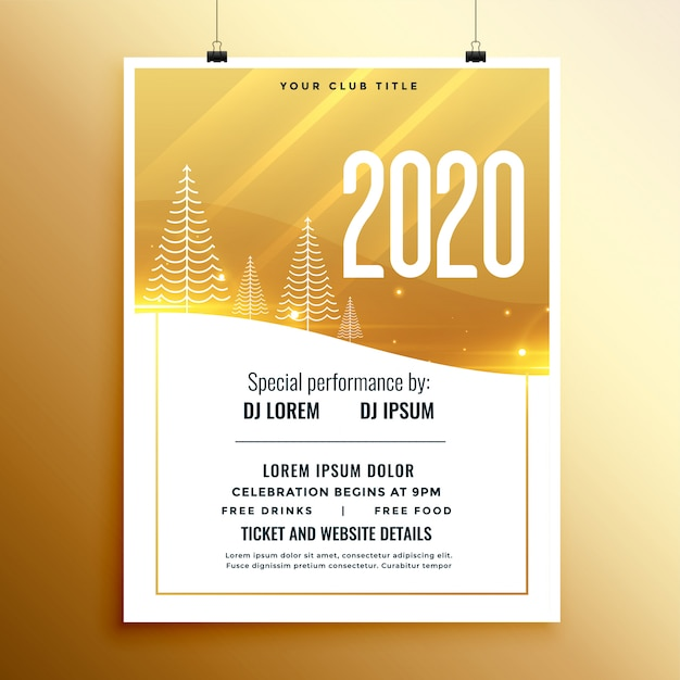 Golden and white new year party flyer flyer Free Vector