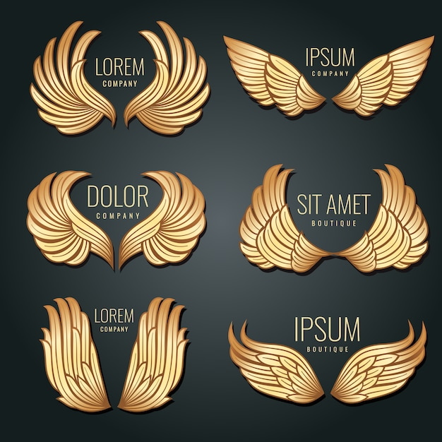 Golden wing logo vector set. angels and bird elite gold labels for corporate identity design Premium Vector