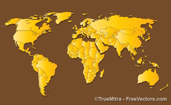 Golden world map background vector free download golden world map background free vector gumiabroncs Images