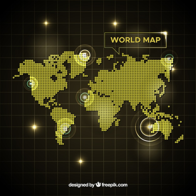 Golden world map with dots Free Vector