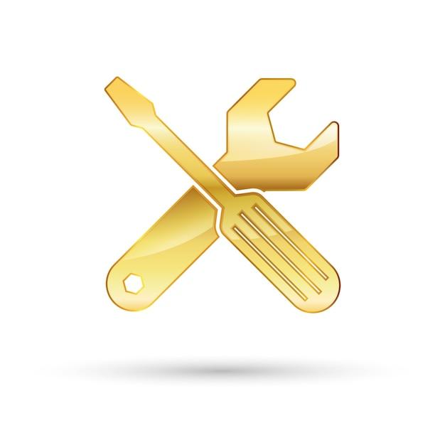 Золотой ключ и отвертка значок Premium векторы