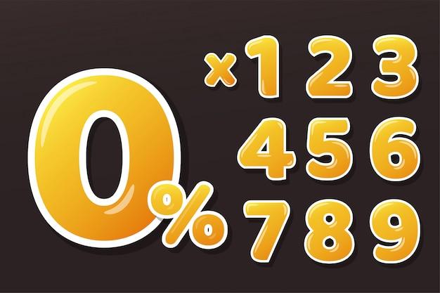 Золотисто-желтые медовые цифры с 0-процентным знаком и умножением чисел. изолировать на фоне. Premium векторы