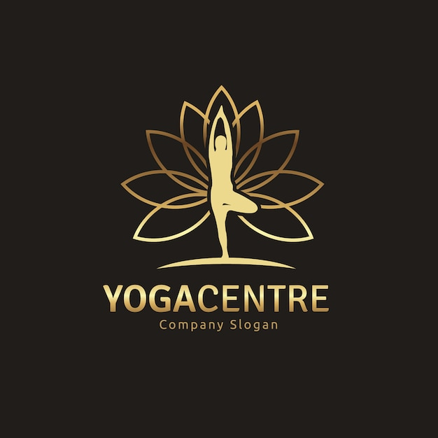 Golden Yoga Logo Design Free Vector