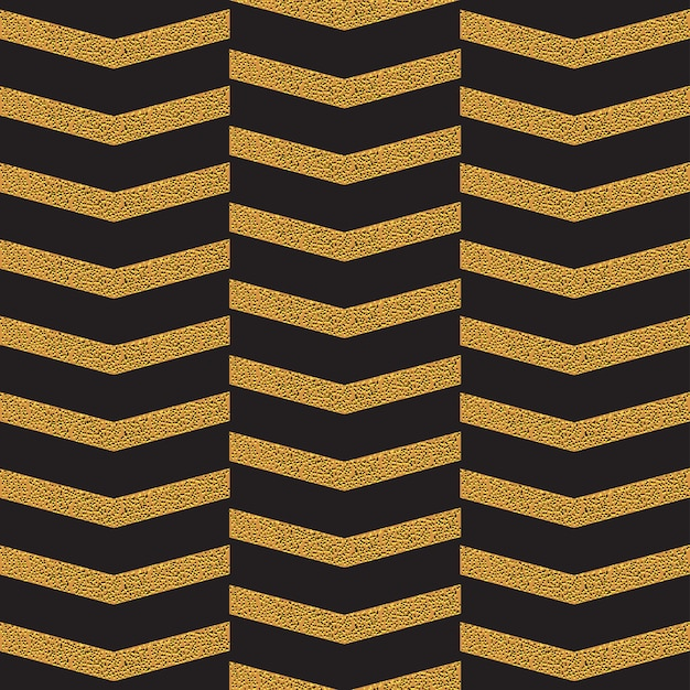Golden zig zag seamless pattern on black Premium Vector