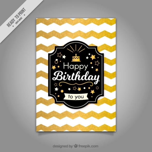 Golden zigzag birthday card