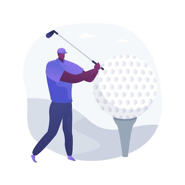 ゴルフの抽象的な概念のベクトル図です。ミニゴルフ世界選手権、アウトドアレクリエーション、カントリークラブトーナメント、レンタル機器、パーソナルトレーニングサービス、アクティブなライフスタイルの抽象的な比喩。 無料ベクター
