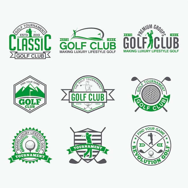 Golf badges-stickers & logos Premium Vector
