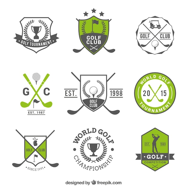 Golf badges Free Vector