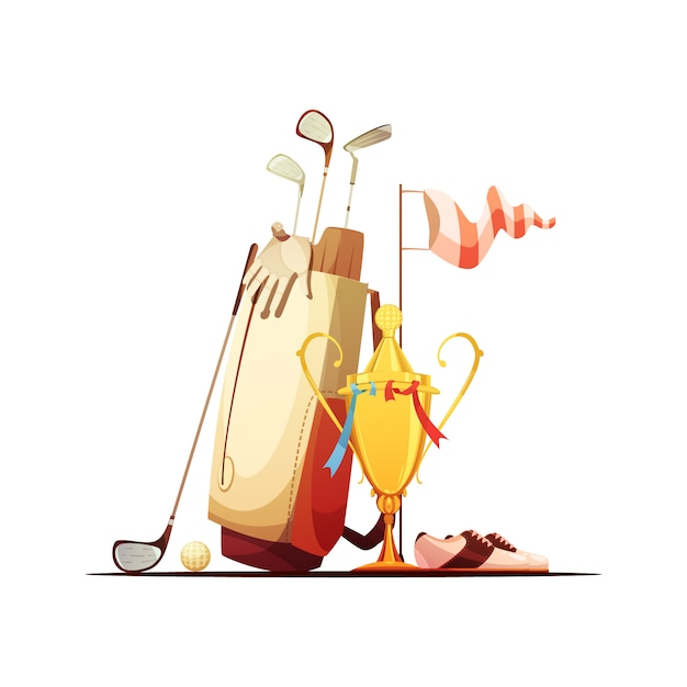 Golf bag with ball clubs shoes and tour championship winner trophy retro cartoon Free Vector