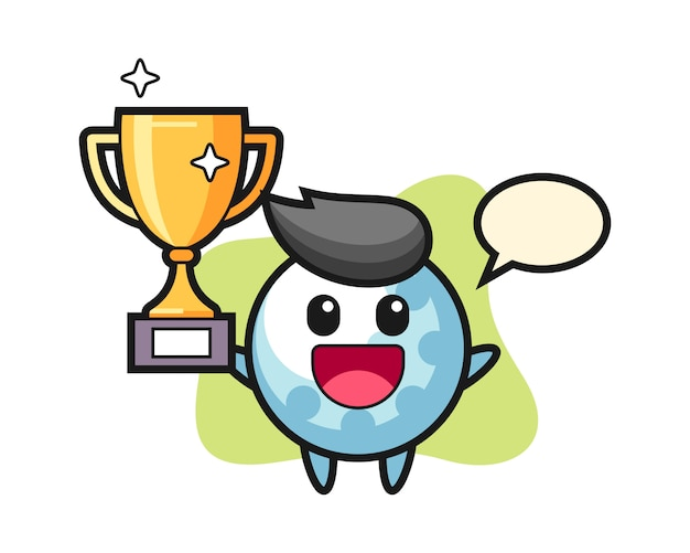 Golf Ball Cartoon Character Happy Holding Up The Golden Trophy Premium Vector