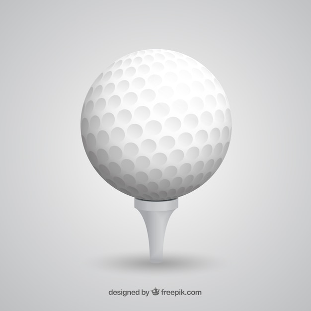 Golf ball on tee in realistic style