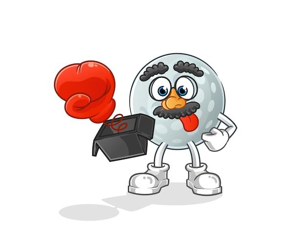 Мяч для гольфа шалость с перчаткой в мультфильме коробки. мультфильм талисман Premium векторы