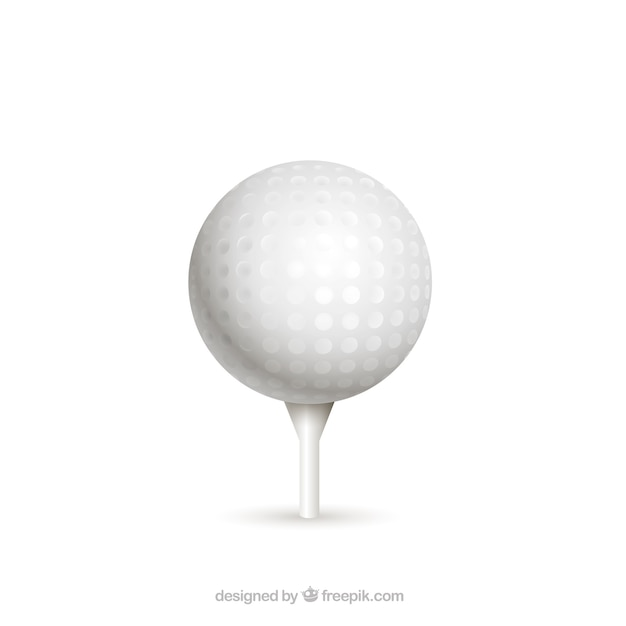 Golf Ball On Tee In Realistic Style Free Vector