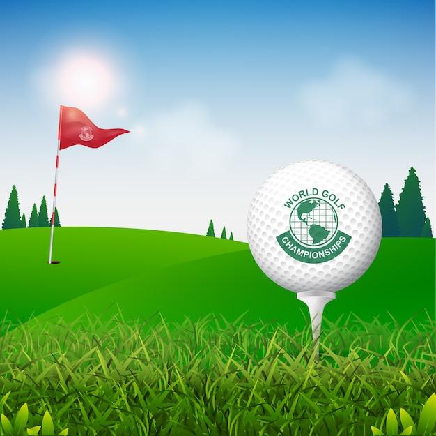 Golf ball vector concept golf tournament world Premium Vector