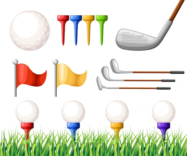 Golf balls on different color tee and various golf clubs green grass golf course  illustration  on white background web site page and mobile app Premium Vector