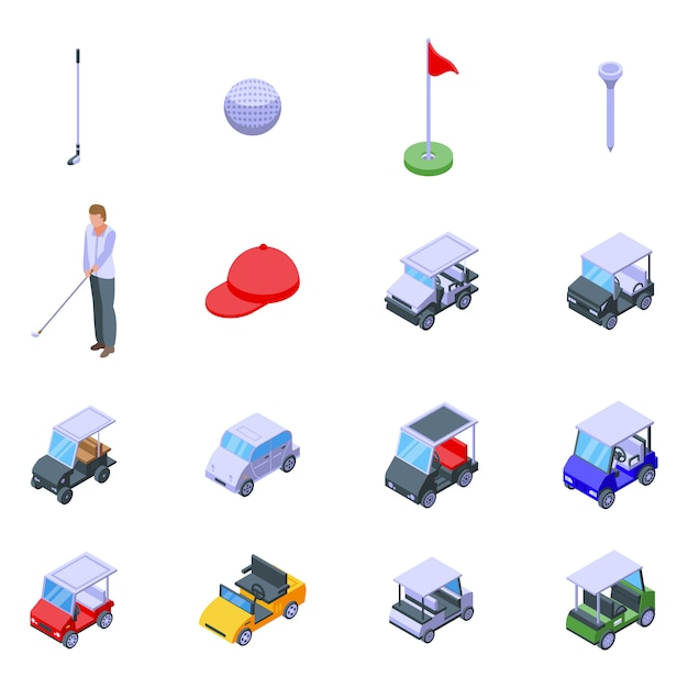ゴルフカートアイコンセット、アイソメ図スタイル Premiumベクター