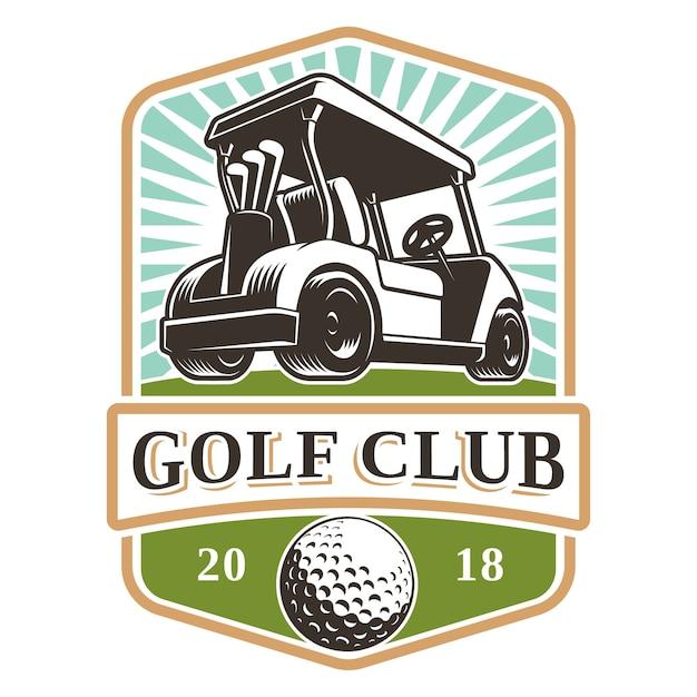 Дизайн логотипа тележки для гольфа на белом фоне. текст находится на отдельном слое. Premium векторы