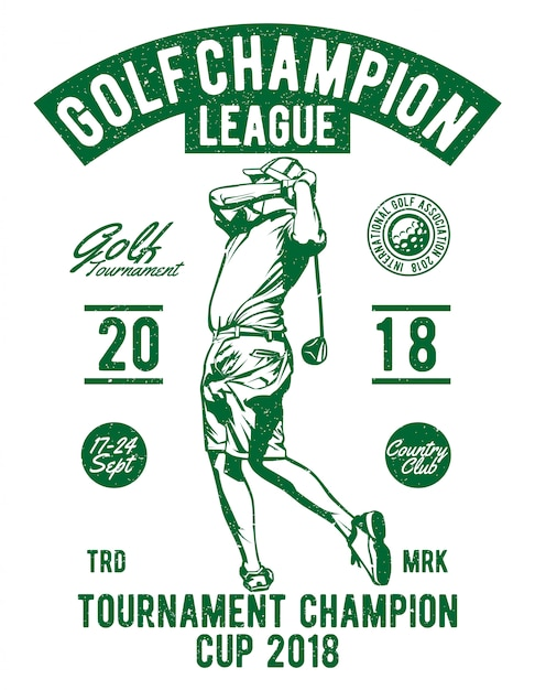 Golf champion league Premium Vector