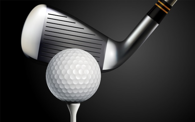 Golf club and ball realistic vector illustration Free Vector