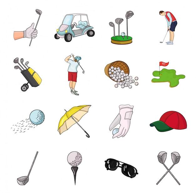 Гольф-клуб мультфильм установить значок. изолированное оборудование значка шаржа установленное для игрока в гольф. иллюстрация гольф-клуб. Premium векторы