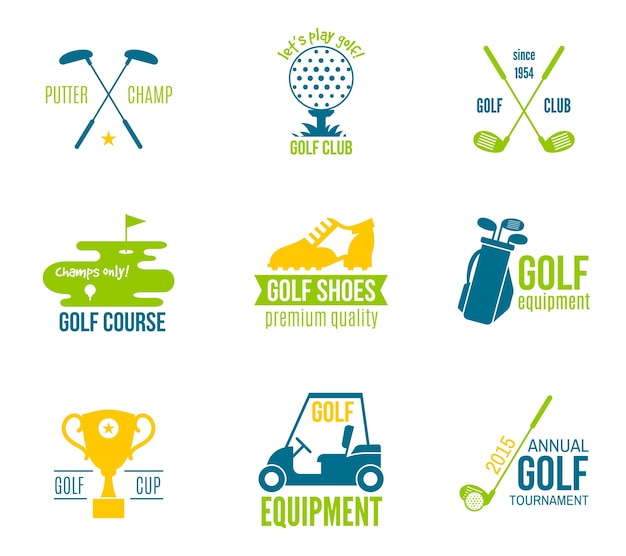 Golf club championship and equipment label\ colored set isolated vector illustration
