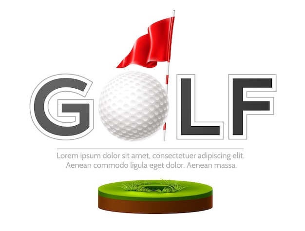 Golf club emblem with realistic flag and golf ball on green grass Premium Vector