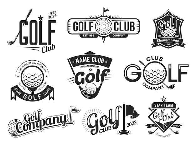 골프 클럽 레이블 템플릿, 팀 배지 및 챔피언십 프리미엄 벡터