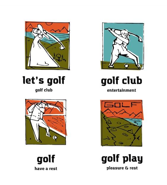 Golf club logo icons set. Premium Vector