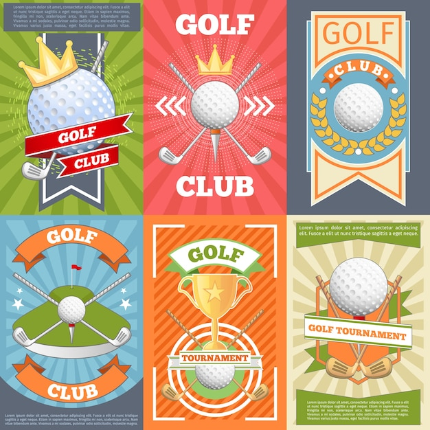 Golf club posters. banner competition, game and tournament, Free Vector