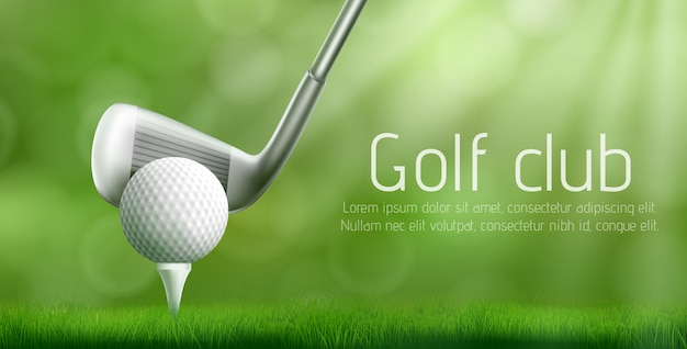 Golf club tournament realistic vector banner Free Vector