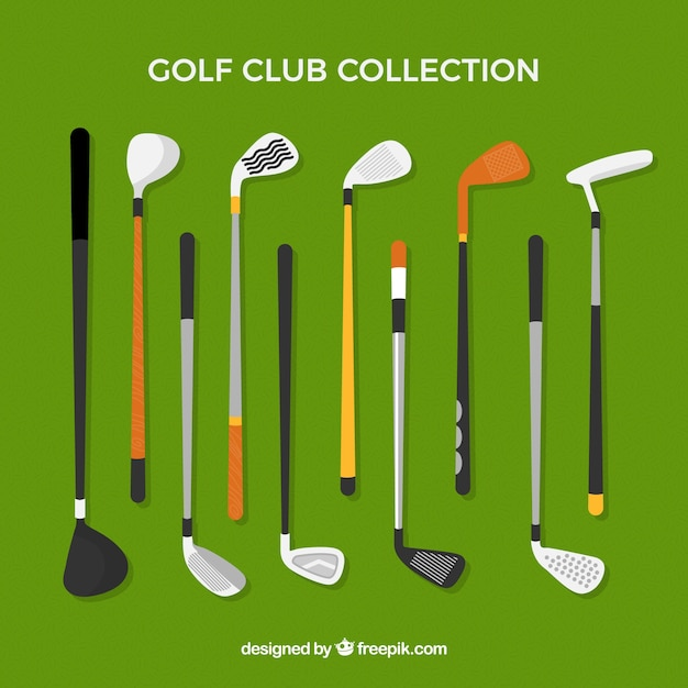 Golf clubs collection in flat style Free Vector