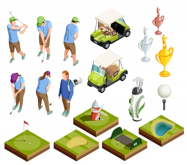 Golf colored isometric decorative icons Free Vector