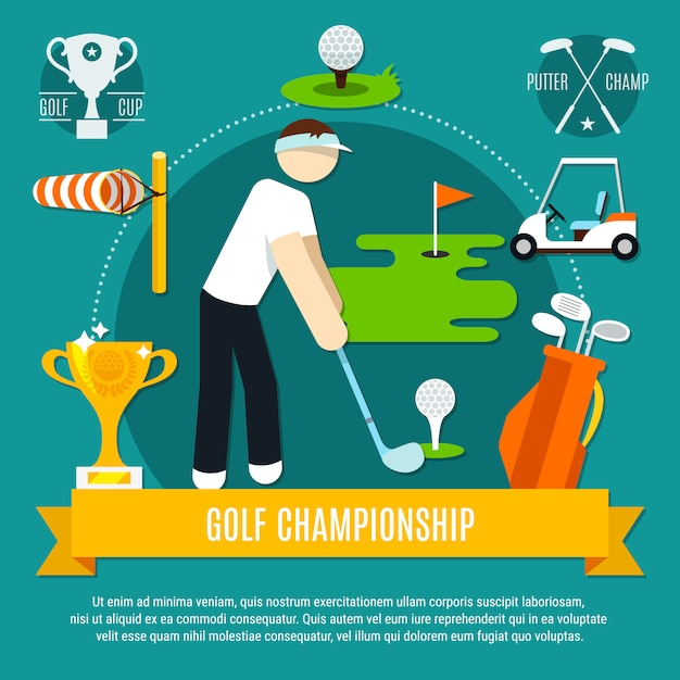 Golf competition flat composition Free Vector