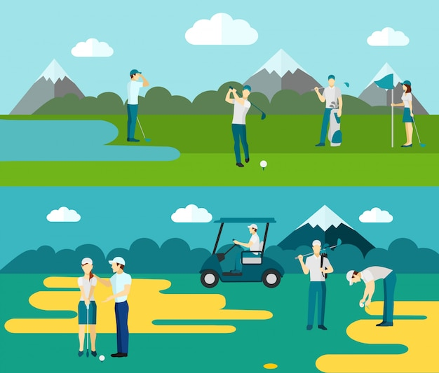 Golf course 2 flat banners composition Free Vector