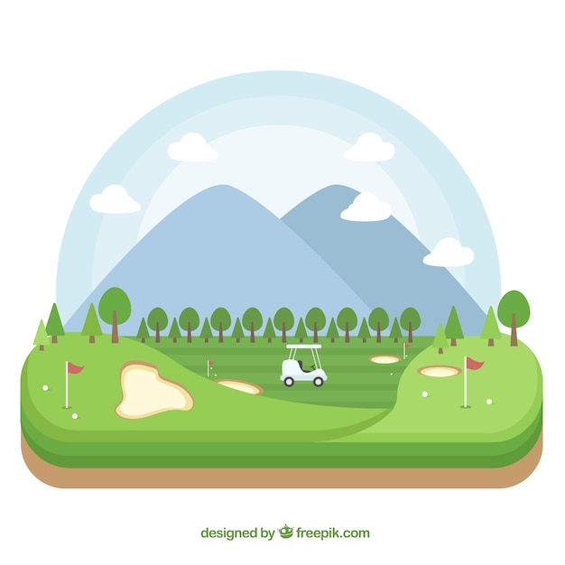 Golf Course Background In Flat Style Free Vector