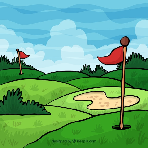 Freepik Golf Course Background In Hand Drawn Style Vector For Free