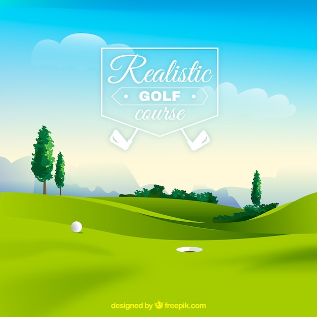 Golf course background in realistic\ style