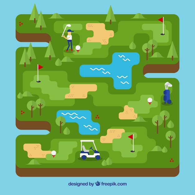 Golf course in flat style