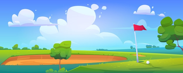 Golf course on nature landscape with ball on grass Free Vector