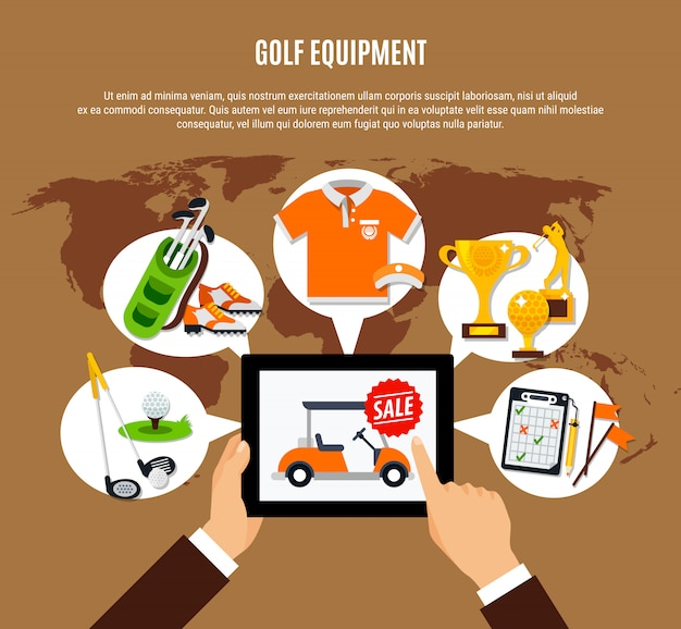 Golf equipment buying online composition Free Vector