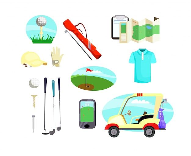Golf equipment icons Free Vector