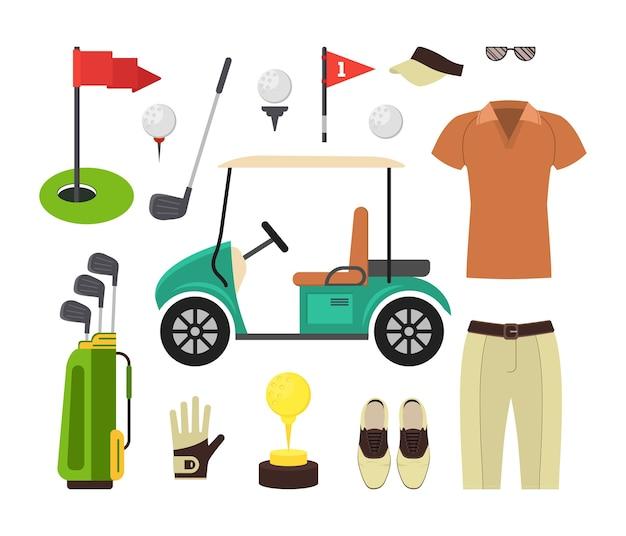 골프 장비 세트. 스포츠 게임. 프리미엄 벡터