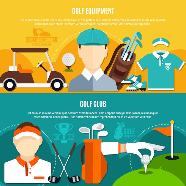 Golf game horizontal banners Free Vector