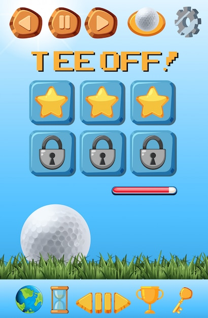 A golf game template Free Vector