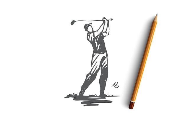 골프, 골프, 놀이, 게임, 장비 개념. 전문 장비 개념 스케치와 함께 손으로 그려진 된 골프 선수. 삽화. 프리미엄 벡터