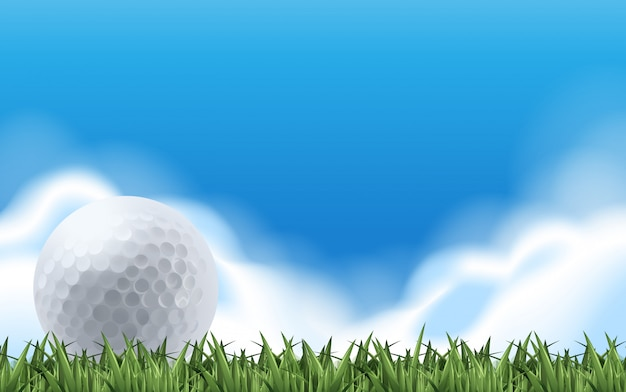 Golf on the green field Premium Vector